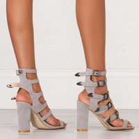 Buckle Strap Heeled Sandals in Grey and Black