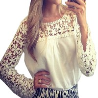 Womens Sexy Lace Crochet Chiffon Splicing Casual Long Sleeve Blouse Shirt (12 US(Asian L), White)