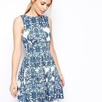 Closet Skater Dress in Baroque Print
