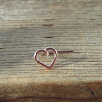 Nose Stud Pink Gold Plain Tiny Open Heart