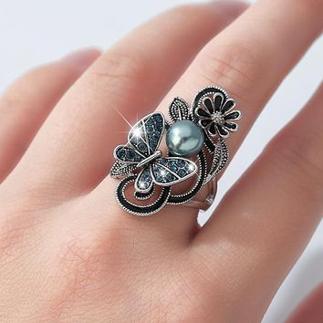 Trendy Ink Blue Pearl Butterfly Crystal Women's Ring For Engagement Wedding Jewelry Copper Accessories