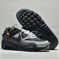 NIKE AIR MAX 90 x OFF-WHITE Co-branded cushion cushion cushioning comfortable low-top casual sneakers black