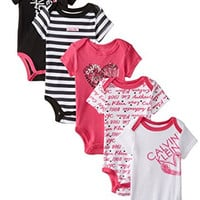 Calvin Klein Baby-Girls Newborn 5 Pack Creeper Set- Pink Black White Group, Multi, 6-9 Months