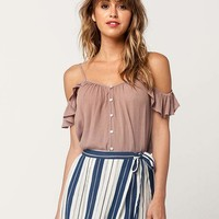 CHLOE & KATIE Ruffle Cold Shoulder Womens Tank | Tanks