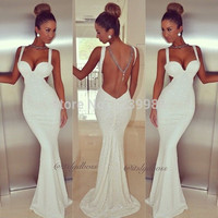 New Spaghetti straps sweetheart Open Back Sequined Mermaid Long Prom Dress Shining Special Occasion Dresses White Evening Dress
