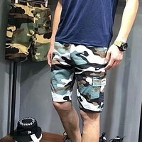 NIKE New Summer fashion small hook print leisure running sports camouflage men shorts Blue