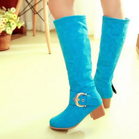 Women Knee High Boots Candy Colors High Heels Shoes Woman  3363