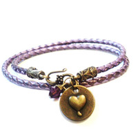 Leather Wrap Bracelet, Sale, Love, Heart, Amethyst, Jewellery,Christmas,Stocking Stuffer, Boho Gift, Her, Him, Charm, Bohemian Earth Designs
