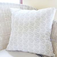 Large Ivory Cow Parsley Linen Cushion