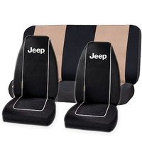 Black Original Jeep High Back Seat Covers & Beige Classic Bench Cover Set Universal