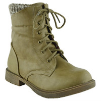 Kids Ankle Boots Knitted Cuff Casual Combat Lace Up Shoes Beige