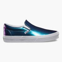 Vans Patent Leather Classic Slip-On Womens Shoes Blue  In Sizes