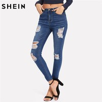 SHEIN Bleach Wash Shredded Ripped Skinny Jeans Women Blue Mid Waist Skinny Long Pants 2018 Rock Button Fly Stretchy Jeans