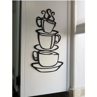 3 coffee cups creative wall art decal removable vinyl wall sticker DIY home decor wall art kitchen wall paper house decoration