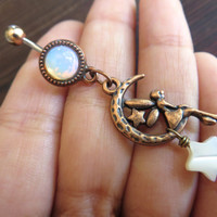 Copper Fairy Crescent Moon Star Faerie Charm White Opal Belly Button Ring Dangle Jewelry Navel Piercing Bellyring Bar