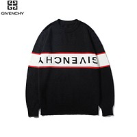 Givenchy 2019 new classic white letter stitching round neck pullover sweater Black