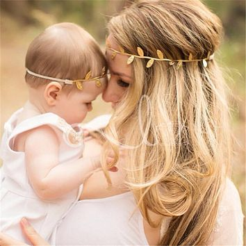 Mom and Baby Leaf Headband (Gold or Silver!)