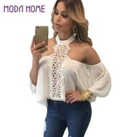 New Fashion Loose Women Blouse Off Shoulder Crochet Lace Tops Hollow Out Halter Backless Crop Top Shirt Blusas White