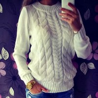 Twisted Pullover Winter Stylish Knit Sweater [11604743892]