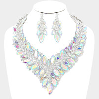 """ Fearless"" Statement Iridescent Crystal Necklace Set With Clear Rhinestone Accents"
