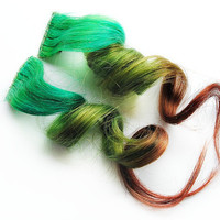 Human Hair Extension, Spring extension hair, hair extension, green, brown clip in hair, Tie Dye Colored Hair - Rustic