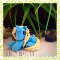 Adorable custom polymer clay Miniature Blue Unicorn figurine Elsa inspired / Disney Frozen - by Tempies Menagerie