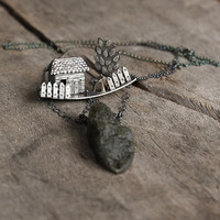 Silver home necklace, house necklace with raw labradorite, big labradorite pendant, unique jewelry gift for wife, homestead jewelry
