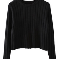 ROMWE | Midriff Black Jumper, The Latest Street Fashion