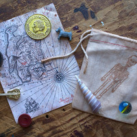 Sack of Pirate Booty and Treasure Map for Kids who like Adventure