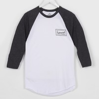 The National Skateboard Co Rose Raglan Tee-Shirt, White / Black Heather