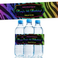 Zebra Rainbow Water Bottle Labels Party Favors - Rainbow Glitter - Diva Sweet 16 Party Favor - Personalized - Animal Print - Wild - Rainbows