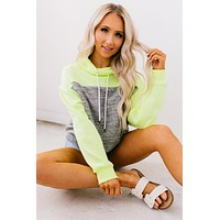 Highlight Reel Cowl Neck Pullover (Marled Charcoal/Neon Yellow)