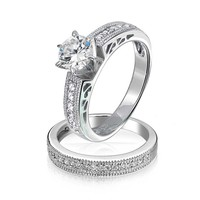 Bling Jewelry Round Solitaire CZ Pave Band Antique Anniversary Wedding Ring Set