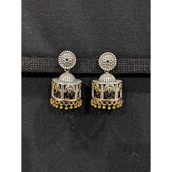 Oxidized silver Dual Tone Dome Jhumka Earrings