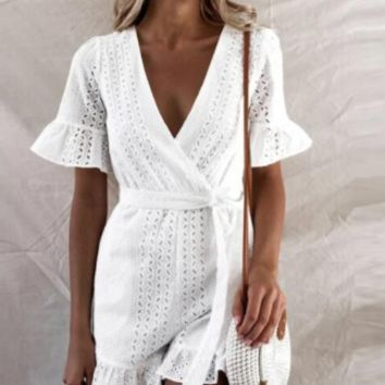 Casual jumpsuit cotton holiday wind shorts female