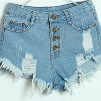 Vicky High Wasted Distressed Shorts