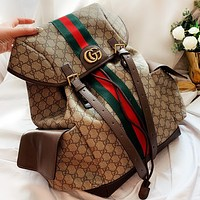 GUCCI New fashion stripe more letter leather handbag book bag backpack bag