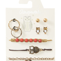 Aeropostale Womens Owl Assorted Jewelry 7-Pack,