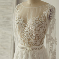 Boho Beach Sheer Lace Chiffon Tulle Wedding Dress Long Sleeves Deep V Back Backless Bridal Gown