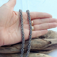 Tiny Stainless Steel Byzantine Chainmaille Necklace - Ready to Ship