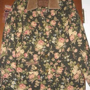 Womens Lauren by Ralph Lauren Dark Green Floral Cotton Barn Jacket Coat PS Petite Small