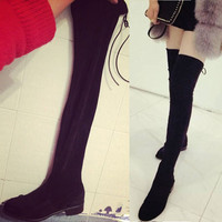 SexeMara Brand 2016 New Stretch Faux Suede Over the Knee Boots Women Slim Thigh High Boots Sexy Fashion High Heel Botas Mujer