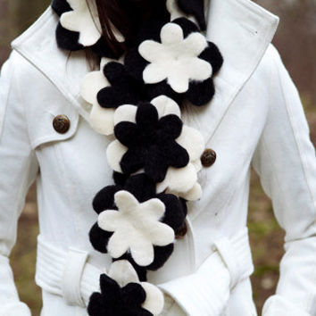 Black and White Flower Scarf