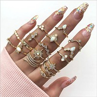 Adjustable Fashion Crystal Sun Opal Water Drop Crown Cross Ring Sets For Women Vintage Gold Rings