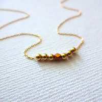 Micro Karen Hill Tribe Rose Gold Vermeil Charm and 14k Gold Fill Bead Chain Necklace; Hill Tribe Beads; Mixed Metals Minimalist Jewelry