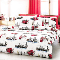 NEW DESIGN Custom Queen or Full Size London Theme Printed on White Backround Ranforce Bedding Set with Red Sheet and Pillowcases