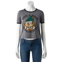 Mighty Fine ''Give a Hoot, Don't Pollute'' Graphic Ringer Tee - Juniors, Size: