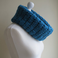 Hand-knit, Super Chunky, Oversized, Broken Rib Cowl in Blue