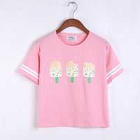 Sisters popsicle round neck short sleeve T-shirt