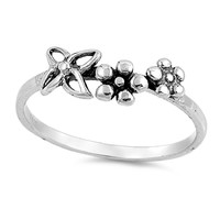 925 Sterling Silver Dainty Flowers Ring 6MM